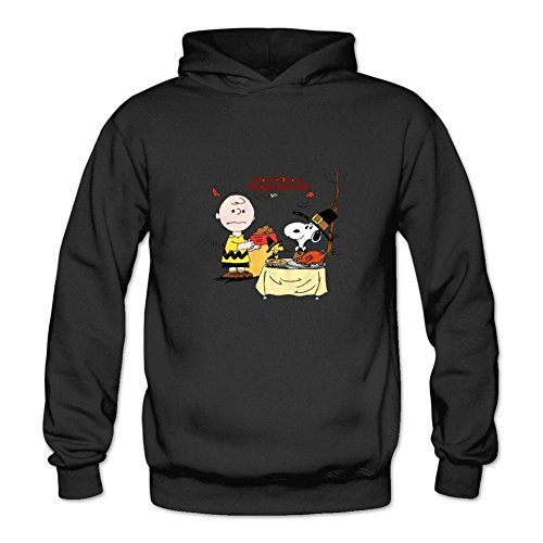 TOPT Women's Charlie Brown Snoopy Thanksgiving Sweatshirts Black M