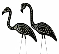 2 Halloween Skeleton Yard Flamingos Lawn Decor by OTC