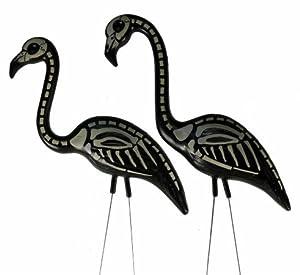 2 Halloween Skeleton Yard Flamingos Lawn Decor by OTC