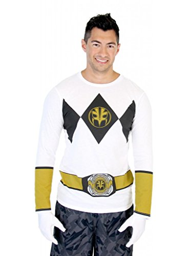 [Power Rangers White Ranger Long Sleeve T-Shirt & Gloves (Adult Large)] (White Ranger Adult Costumes)