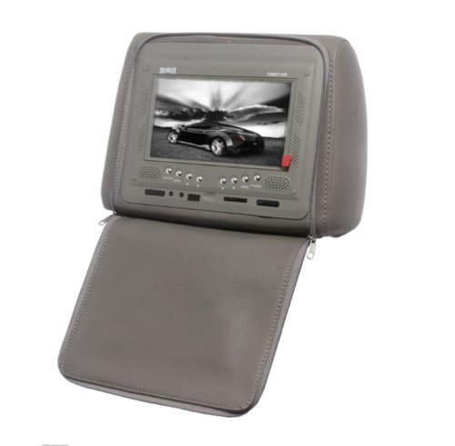 Absolute Com-715Irg 7.5- Inches Headrest Pillow With Zipper Cover, Tft/Lcd Color Monitor, Built-In Ir Transmitter And Remote Control (Grey)