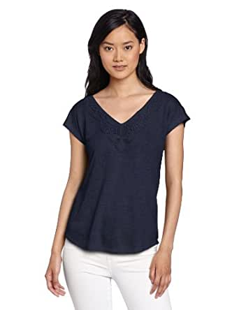 Lucky Brand Women's Aden Tie Back Top, American Navy, X-Large