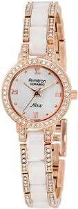 Armitron Women's 75/3919WTRG White Ceramic Rosegold-Tone Swarovski Crystal Accented Bracelet Watch