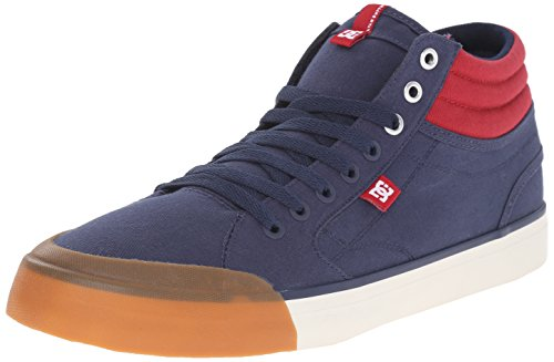 DC Men's Evan Smith HI Skate Shoe, Navy/Red, 10.5 M US