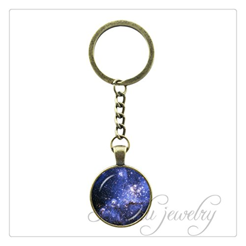 Nebula Blue Space Pendant Astronomy Geek Jewelry Science Galaxy Space Key Chain Ring Glass Dome Pendant Jewellery Gift