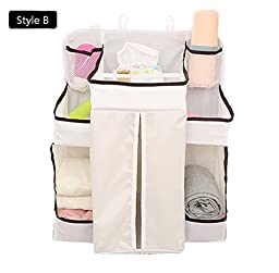 Bestwoohome Nursery & Diaper Hanging Storage Bags Organizers for Baby Bed Infant Crib (Style B)