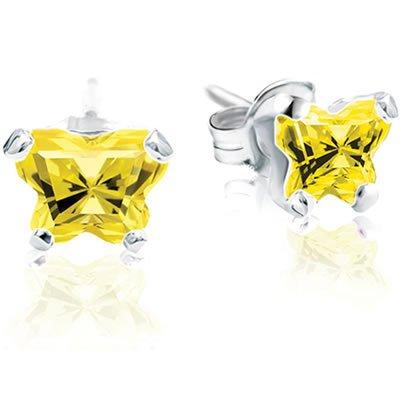Jewelry Locker Bfly(tm) Sterling Silver and CZ November Birthstone Teen Earrings