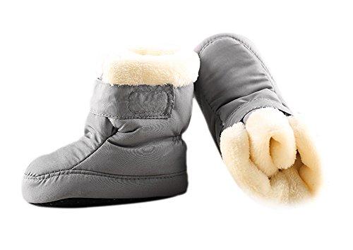 Newborn Baby Boys and Girls Waterproof Winter Warm Snow Boots (13cm(6-12months), Gray)