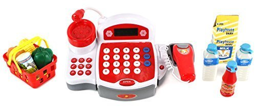 Multi-Deluxe Cash Register Pretend Play Battery Operated Toy Cash Register w/ Working Scanning Action, Real Calculator, Microphone, Accessories (Real Cash Register With Scanner compare prices)