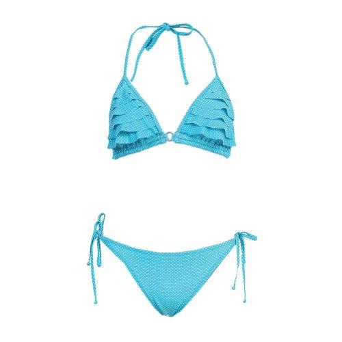Ruffle Polka Dot Triangle Top & String Bikini Bottom Turquoise