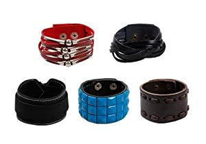 Bundle Monster Unisex PU Hot Goth Wide Leather Wrap Cuff Woven Colored Wrist Button Buckle Bracelet Mix Set - 1
