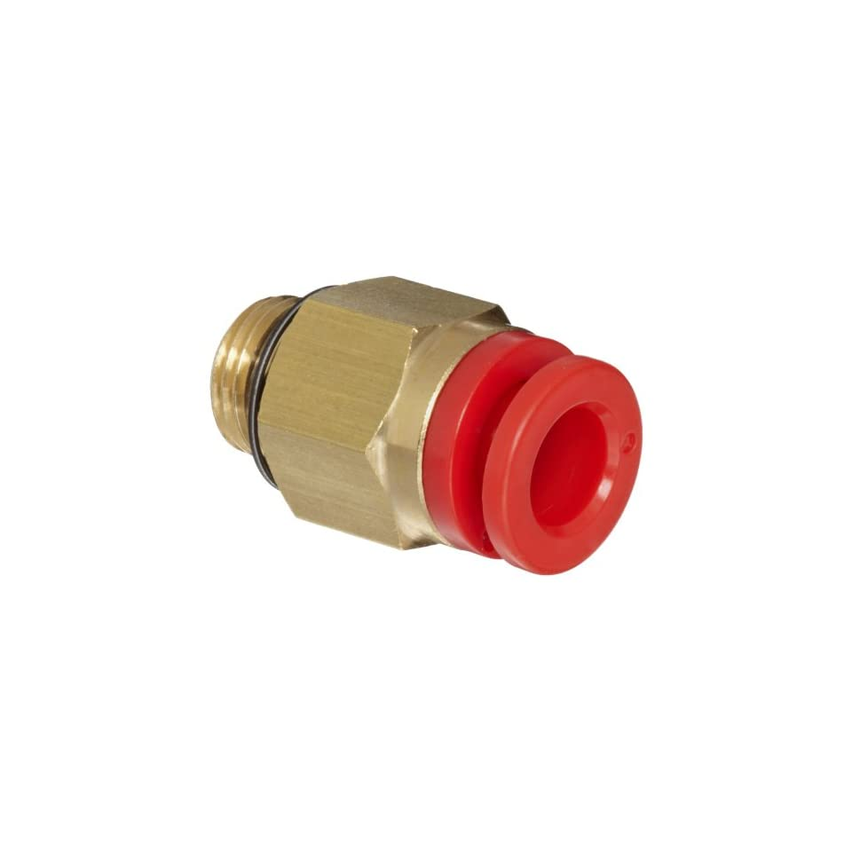 SMC KQ Series Brass Push to Connect Tube Fitting, Connector, 5/32 Tube OD x 10 32 UNF Male