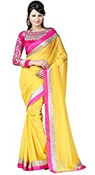 RockChin Fashions Yellow Chiffon Saree with Embroidered Blouse