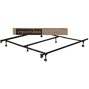 STRUCTURES by Malouf® Heavy Duty 6-Leg Adjustable Metal Bed Frame with Rug Rollers - UNIVERSAL (Cal King-Twin)