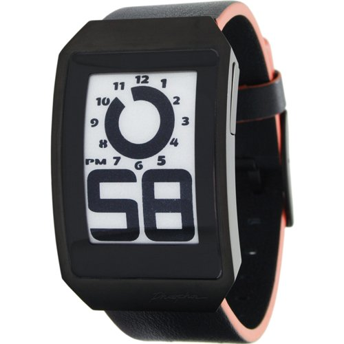 Phosphor Unisex DH05 Digital Hour E-INK Curved Black Ion-Plated Leather Band Watch