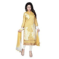 S P Marketing Yellow Chanderi Cotton Long Dress Material 7075