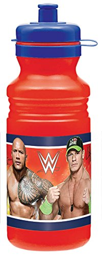 Amscan Grand Slammin' WWE Sports Drink Bottle (1 Piece), Blue/Red, 18 oz