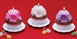 Pack of 6 Sweet Treats Floral Cupcake Candles - Cherry Scented