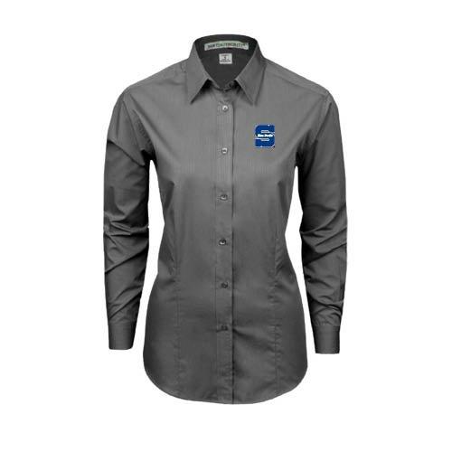 Uw Stout Ladies Grey Tonal Pattern Long Sleeve Shirt 'S W/ Blue Devils' - S