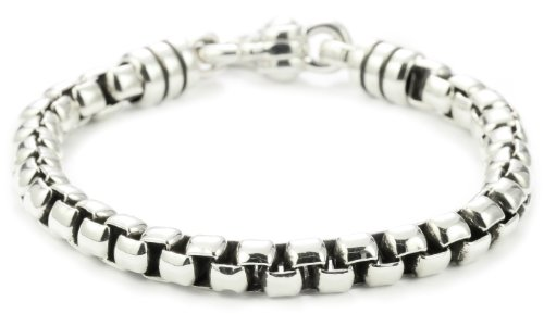 Zina Sterling Silver Men's Stratus Bracelet with Wide Venetian Chain In Oxidized