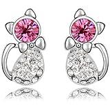 MARENJA Cristal-Cadeau Femme-Boucles d'oreilles Clous Femme-Chat-Plaqué Or Blanc-Cristal Autrichien Rose-Bijoux Fantaisie-02000054
