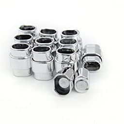 Linsoir Beads Strong Sturdy Silver Plated Magnetic Clasps Jewelry Accessories Connector for Necklace Bracelet Hole Size 6.5X10mm Pack of 10