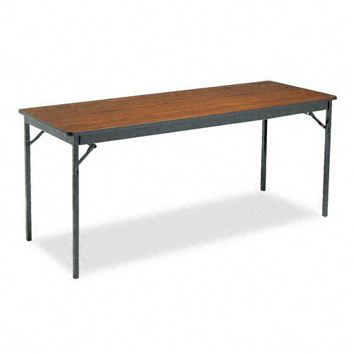 "Barricks Products - Barricks - Special Size Folding Table, Rectangular, 72w x 24d x 30h, Walnut - Sold As 1 Each - Security lock holds table firmly open. - End seating is unobstructed. - Steel apron provides ample support. - Finish on top wipes clean with ease. - Folds to just 4"" high for easy storage."