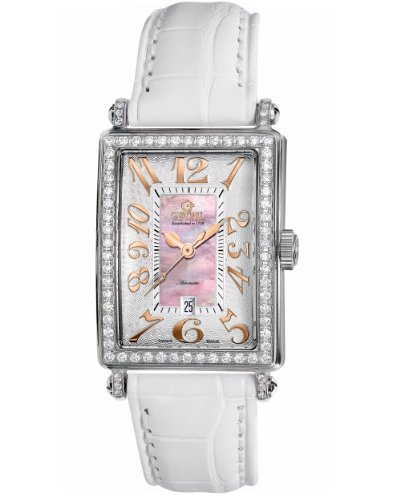Gevril Women's 6208RV.1 Pink Mother-of-Pearl Genuine Alligator Strap Watch