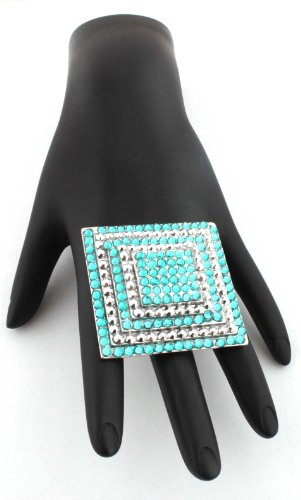 Poparazzi Silver with Blue Iced Out Square Layers Stretch Finger Ring One Size Fits All Basketball Wives