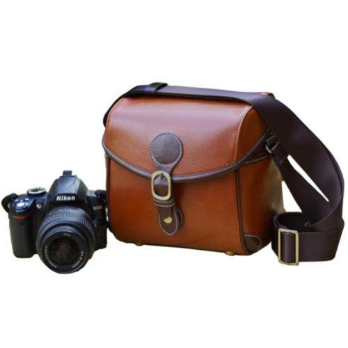 Usmile Vintage Look Britpop DSLR Camera Bag for Canon Nikon Sony Pentax Red Brown image
