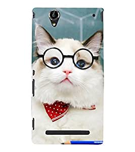 White Cat with Specs 3D Hard Polycarbonate Designer Back Case Cover for Sony Xperia T2 Ultra :: Sony Xperia T2 Ultra Dual SIM D5322 :: Sony Xperia T2 Ultra XM50h