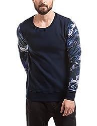 Shuffle Men's Poly Cotton Sweatshirt (8907423024250_2021518601_Medium_Navy)