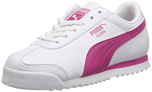 PUMA Roma Basic JR Sneaker (Little Kid/Big Kid) , White/Fuchsia Purple, 5 M US Big Kid