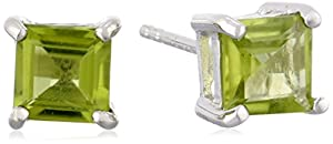 Sterling Silver 6mm Square-Cut Peridot Earrings