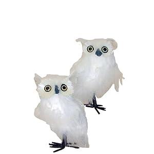 """Kurt Adler 6.1-7"""" White Owl Ornament Set of 2"""