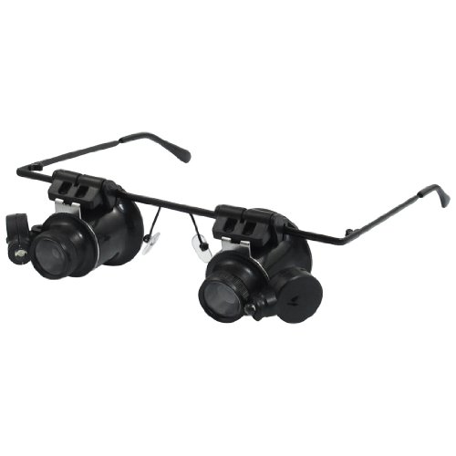 Glasses Type White 2 Led Light 20X Magnifying Glass Magnifier Black front-387916