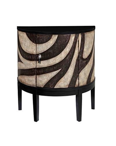 Coast to Coast Exotic 1-Door Demilune Cabinet, Zebra