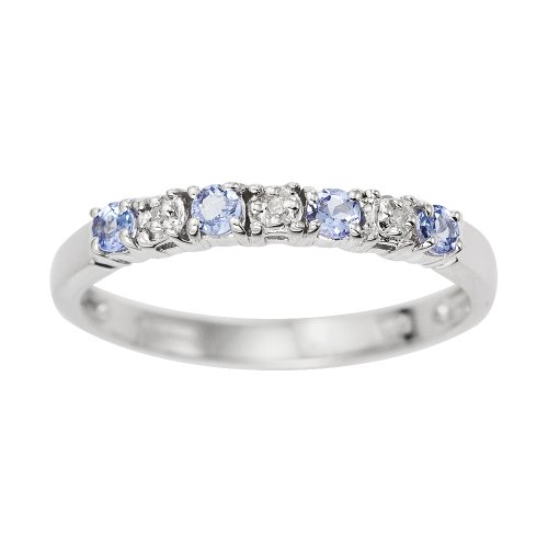 Eternity Ring, 9ct White Gold Diamond and TanzaniteRing,