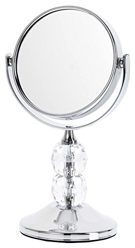 Danielle Enterprises Chrome Plated 4X Magnification Mini Mirror With Acrylic Gems, Clear