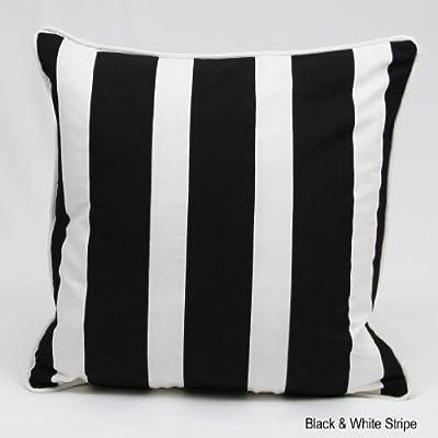 Kissenbezug, gestreift, 100% Baumwolle, ca.45,7cm, Schwarz/Weiß