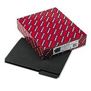 Interior File Folders, 1/3 Cut Top Tab, Letter, Black, 100/Box