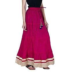 Rangsthali Cotton Party Wear Golden lace work long Skirt