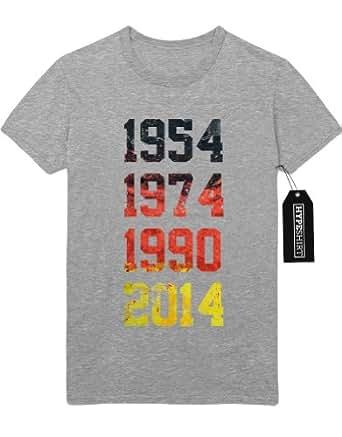 T-Shirt 1954 1974 1990 2014 Weltmeister GER Germany Deutschland Schwarz Rot Gold Sterne Fußball WM Weltmeisterschaft Brasilien Trikot Flage M962611 Grau S