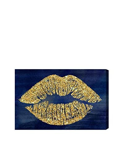 Oliver Gal Solid Kiss Navy Glitter Canvas Art, Multi
