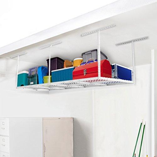 FLEXIMOUNTS 4x8 Heavy Duty Overhead Garage Adjustable Ceiling Storage Rack, 96
