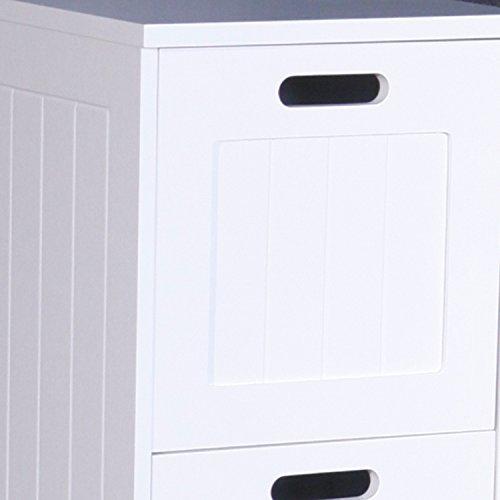 Lavabo Richmond Meuble Salle de Bain Porte en bois Miroir Armoire Étagère de rangement Organisateur coffre à linge, blanc, 4 Drawer Storage Chest