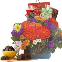 Beautiful Flower Bouquet Gift Tote Bag of Decadent Chocolate Treats