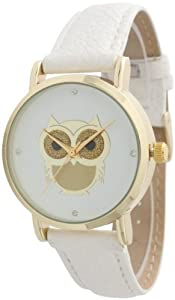 Ladies Owl Design Leather Watch - White