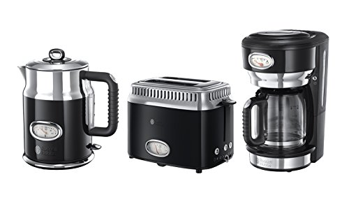 russell hobbs fr hst ck set 3 tlg kaffeemaschine wasserkocher toaster retro classic noir. Black Bedroom Furniture Sets. Home Design Ideas