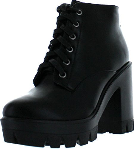 Bamboo Jonas-02 Women Lace Up Chunky Heel Lug Sole Platform Combat Ankle Bootie,Black Crp,8